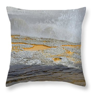 Yellowstone National Park's Jewel Geyser Throw Pillow by Bruce Gourley