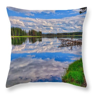 Yellowstone River Reflections Throw Pillow
