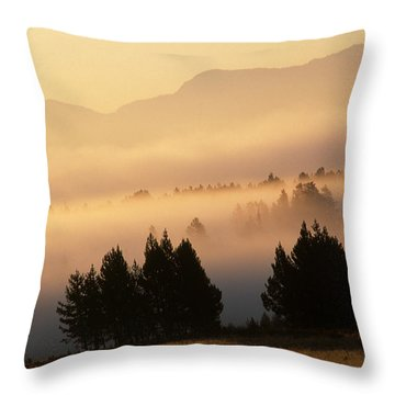 Yellowstone Sunrise Throw Pillow by Steve Archbold