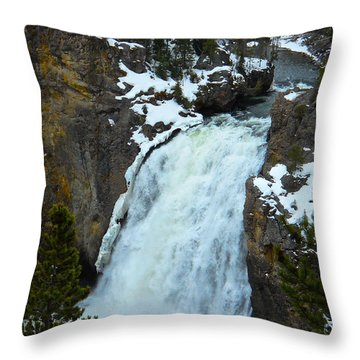 Yellowstone Upper Falls In Spring Throw Pillow