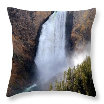Throw Pillow featuring the photograph Lower Yellowstone Falls by Athena Mckinzie