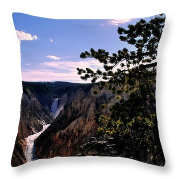Yellowstone Waterfall Throw Pillow