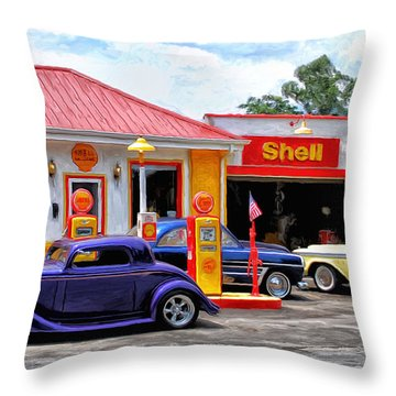 Yesterday's Shell Station Throw Pillow