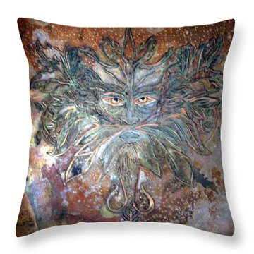 Yggdrasil Rune Greenman Throw Pillow