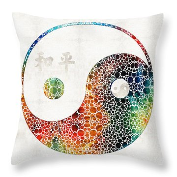 Yin And Yang - Colorful Peace - By Sharon Cummings Throw Pillow