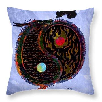 Ying Yang Dragon Throw Pillow