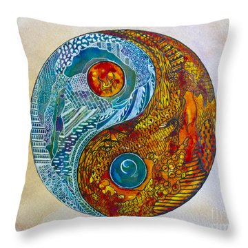 Throw Pillow featuring the painting Yinyang  by Suzette Kallen