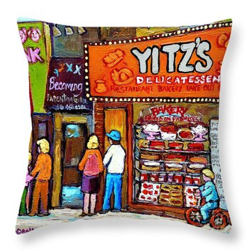 Yitzs Deli Toronto Restaurants Cafe Scenes Paintings Of Toronto Landmark City Scenes Carole Spandau  Throw Pillow by Carole Spandau