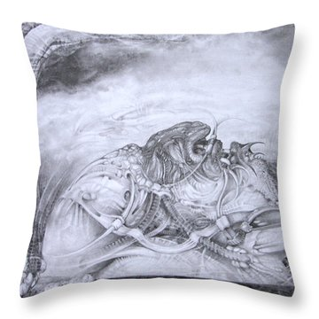 Throw Pillow featuring the drawing Ymir At Rest by Otto Rapp