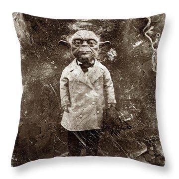 Yoda Star Wars Antique Photo Throw Pillow