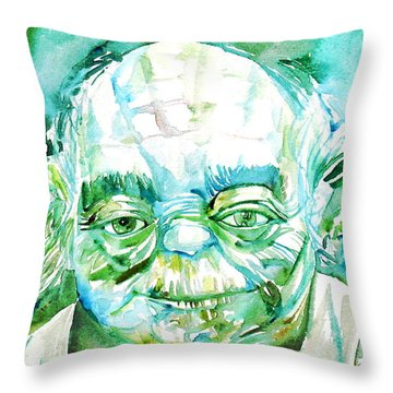 Yoda Watercolor Portrait Throw Pillow
