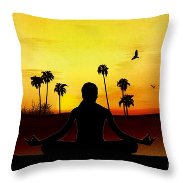 Yoga At Sunrise Throw Pillow by Bedros Awak
