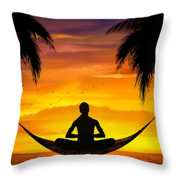 Yoga At Sunset Throw Pillow