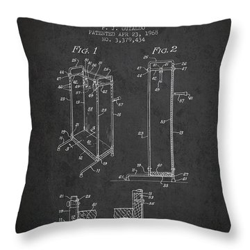 Yoga Exercising Apparatus Patent From 1968 - Charcoal Throw Pillow