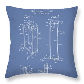 Yoga Exercising Apparatus Patent From 1968 - Light Blue Throw Pillow
