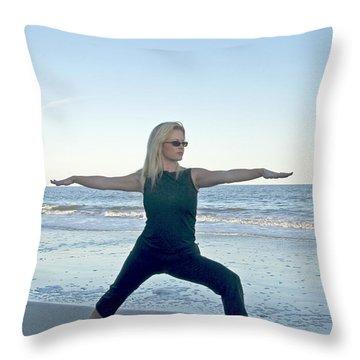 Yoga Woman On The Beach Throw Pillow