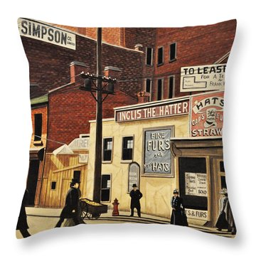 Throw Pillow featuring the painting Yonge And Richmond Streets 1899 by Kenneth M  Kirsch