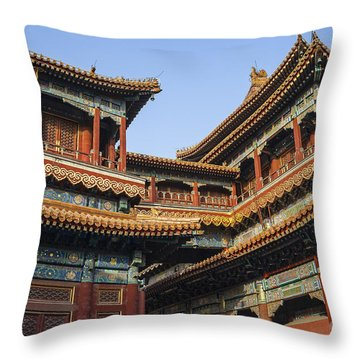 Throw Pillow featuring the photograph Yonghe Temple Aka Lama Temple In China by Bryan Mullennix