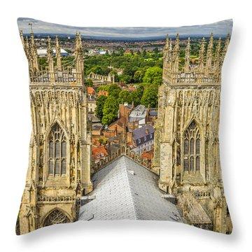 York From York Minster Tower Throw Pillow