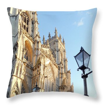 York Minster With Lampost Throw Pillow by Neil Finnemore