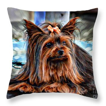 Yorkie Girl  Throw Pillow