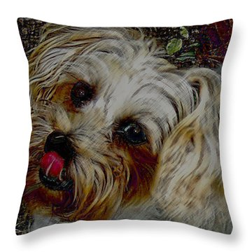 Yorkshire Terrier Artwork Throw Pillow by Lesa Fine