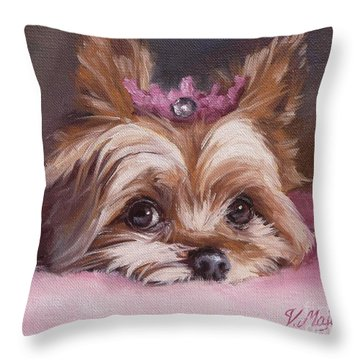 Yorkshire Terrier Princess In Pink Throw Pillow