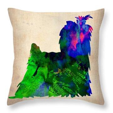 Yorkshire Terrier Watercolr Throw Pillow