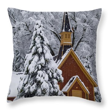 Yosemite Chapel Throw Pillow by Bill Gallagher