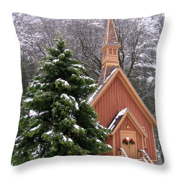 Throw Pillow featuring the photograph Yosemite Chapel In Winter by Kevin Desrosiers