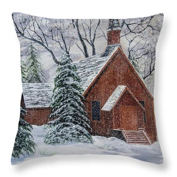 Yosemite Chapel  Throw Pillow