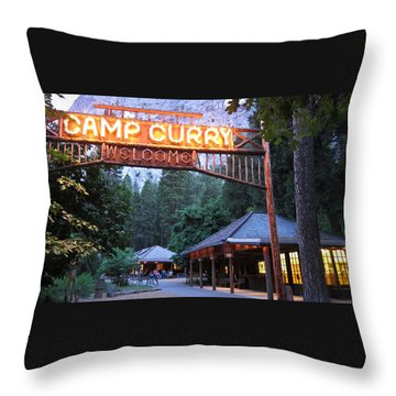 Throw Pillow featuring the photograph Yosemite Curry Village by Shane Kelly