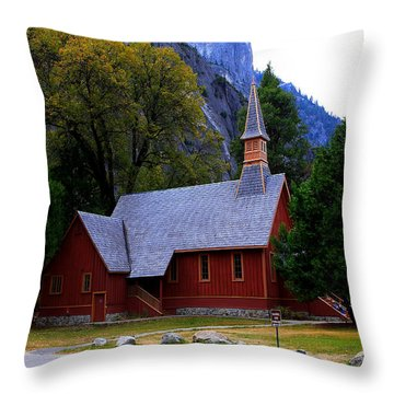 Yosemite Fall  Chapel  Throw Pillow