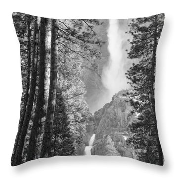 Yosemite Falls Black And White Throw Pillow by Bruce Gourley