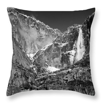 Yosemite Falls In Black And White II Throw Pillow by Bill Gallagher