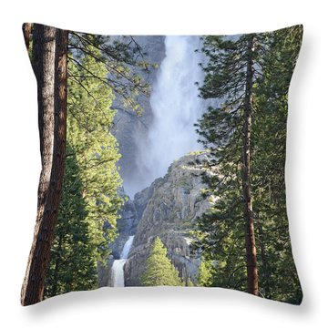 Yosemite Falls In Morning Splendor Throw Pillow by Bruce Gourley