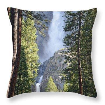 Yosemite Falls In Morning Splendor Throw Pillow