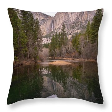 Yosemite Falls Reflection Throw Pillow