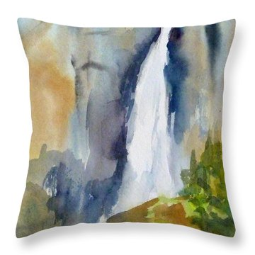 Yosemite Falls Springtime Throw Pillow