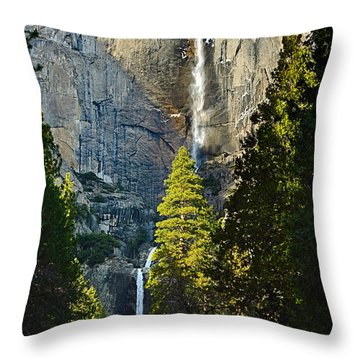 Yosemite Falls With Late Afternoon Light In Yosemite National Park. Throw Pillow by Jamie Pham