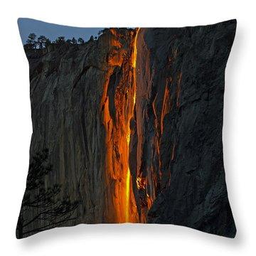 Yosemite Horsetail Falls Throw Pillow
