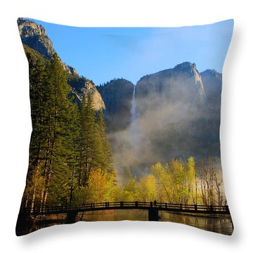 Yosemite River Mist Throw Pillow