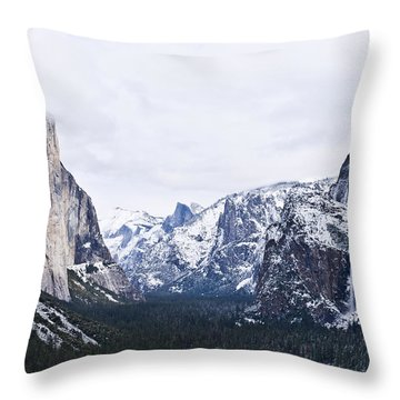 Yosemite Tunnel View In Winter Throw Pillow by Priya Ghose