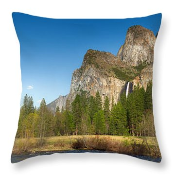 Yosemite Valley And Merced River Throw Pillow