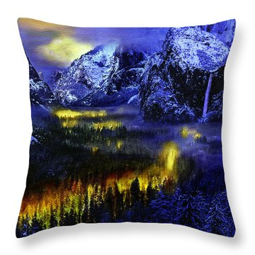 Yosemite Valley At Night Throw Pillow by Bob and Nadine Johnston