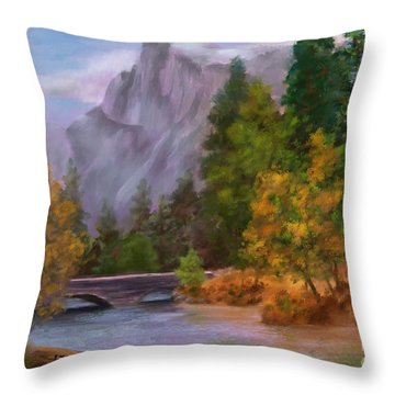 Yosemite Valley Half Dome Throw Pillow