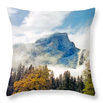 Yosemite Valley  Light Snow Throw Pillow