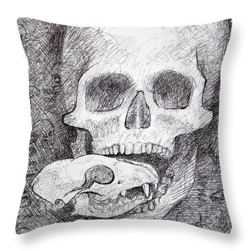 You Are What You Eat Skull Drawing Throw Pillow by Adam Long
