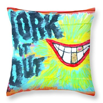 Throw Pillow featuring the painting You Better Work It Out by Lisa Piper