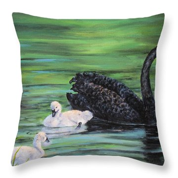 Throw Pillow featuring the painting You Comin'--black Swan by Mary McCullah